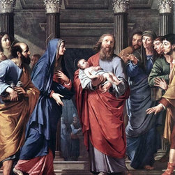 """Philippe De Champaigne The Presentation of the Temple   Print - 16"""" x 20"""" Philippe De Champaigne The Presentation of the Temple premium archival print reproduced to meet museum quality standards. Our museum quality archival prints are produced using high-precision print technology for a more accurate reproduction printed on high quality, heavyweight matte presentation paper with fade-resistant, archival inks. Our progressive business model allows us to offer works of art to you at the best wholesale pricing, significantly less than art gallery prices, affordable to all. This line of artwork is produced with extra white border space (if you choose to have it framed, for your framer to work with to frame properly or utilize a larger mat and/or frame).  We present a comprehensive collection of exceptional art reproductions byPhilippe De Champaigne."""
