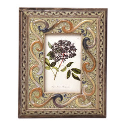 """Traders and Company - Enamel Inlaid 4x6 Wood Picture Frame w/ Jewels, 8""""Lx1""""Wx10""""H - San Simeon - Crafted from wood and given a classically antiqued look, each frame is dramatically inlaid with swirled resinous enamel. Embedded colorful rhinestone jewels dot the design, adding sparkle and shimmer to your photos. Each frame comes with an attached kickstand for desktop use, or hooks for vertical or horizontal wall hanging. Fits 4""""x6"""" photos. Alternate shapes & styles sold separately. Dimensions: 8""""Lx1""""Wx10""""H"""