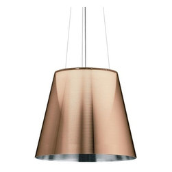 Flos Lighting - Ktribe S3 Suspension by Flos Lighting - The Flos Ktribe S3 Suspension designed by Philippe Starck is a visually stunning centre piece that adds lavish design element while adding aesthetic look to your decor. The Ktribe S3 Suspension features polymethylmethacrylate diffuser and polycarbonate PMMA body.Flos was first established in 1962 in Merano, Italy, to produce high quality modern lighting. This Italian lighting company continues to do so to this day by collaborating with talented international designers and researching the latest lighting technologies and materials. Resulting Flos lighting fixtures are daring and provocative, yet uphold the fundamental principles of good design.The Flos Ktribe S3 Suspension is available with the following:Included Features:One polymethylmethacrylate diffuser.Polycarbonate PMMA body.One ceiling canopy.One 180 in. cord.Three stainless steel cables.UL Listed.Designed by Philippe Starck.Options:Color: Bronze, Silver, or Transparent (shown).Lamping: Fluorescent, or Halogen.Lighting:Fluorescent option utilizes one 26 Watt 120 Volt GX24q4 Base Fluorescent lamp (included).Halogen option utilizes one 150 Watt 120 Volt Type T-10 Medium Base Halogen lamp (included).Shipping:This item usually ships within five business days.