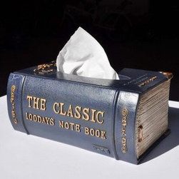 Ancient Classic Book Style Tissue Box Cover, Royal Blue - You can hide the tissues in the bookshelf, and no one will ever know. This is very sneaky-cool.