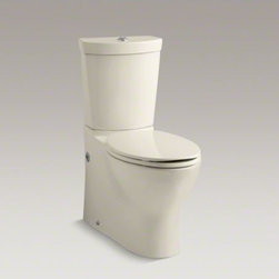 KOHLER - KOHLER Persuade(R) two-piece elongated dual-flush toilet with top actuator - The Persuade Collection captures the essence of modernity in subtle curves and clean lines. With its sleek symmetry and compact design, this two-piece Persuade toilet adds style to the bathroom without sacrificing comfort or water savings. This toilet flu