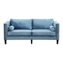 TOV Furniture - Cooper Blue Velvet Sofa - Cooper Sofa features modern classic design with black stained legs, removable seat cushions, accent pillows and Blue Velvet upholstery accented with over 1,300 hand applied silver nail heads.