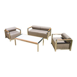 Great Deal Furniture - Rosetta Outdoor 4pc Taupe Grey Seating Set - The Rosetta Outdoor Set perfectly exudes a modern feel to any outdoor living space. With its unique and eye-catching design, this set offers taste and functionality to your patio. The combination of natural and industrial elements compliments any style of decor and the high quality materials make this set an immediate statement.