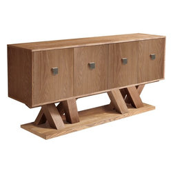 Sunpan - Madero Sideboard, Driftwood - This bold and contemporary sideboard is a new addition to our very popular Madero collection. Made of solid oak and oak veneer in a lightly distressed driftwood finish with over-sized brushed steel hardware. Assembly required.