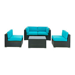 Modway - Modway EEI-694 Camfora 5 Piece Sectional Set in Espresso Turquoise - Simple and serviceable, the Camfora is a great choice for any backyard. Classically styled furniture crafted out of all weather materials meant to last, this set will please year after year.  Enjoy some quality time in the fresh air with the Camfora set.