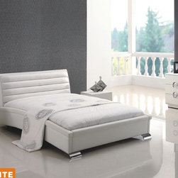 Contemporary, Modern Bedroom Collection - American Eagle Furniture STELA Contemporary White Leather Wave Platform Bed With Chrome Legs Bedroom Set