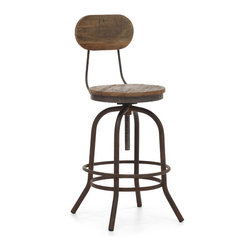 ZUO ERA - Twin Peaks Counter Chair Distressed Natural - Based on the same mechanisms of drafters chairs in the early 1900's, the Twin Peaks counter chair's adjustable mechanism allows a comfortable height for anyone. The top is solid Elmwood and the base and accents are antique metal.