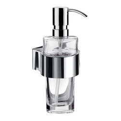 "WS Bath Collections - Liaison 1721.001.10 Wall Mount Soap Dispenser - Liaison 1721.001.10, 2.8"" x 3.6"" x 6.7"", Soap Dispenser in Clear Crystal Glass/Polished Chrome"