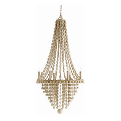 "Arteriors - Maurice Chandelier - Have humble wooden beads ever looked this elegant? This eight-light chandelier positively drips with pale strings of them for a look that's one part Gustavian, one part Hamptons and one part ""wow."" It would look simply stunning in a grand foyer or high-ceilinged dining room."