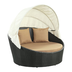 """LexMod - Siesta Canopy Outdoor Patio Daybed in Espresso Mocha - Siesta Canopy Outdoor Patio Daybed in Espresso Mocha - Awaken from your daytime repast while comfortably ensconced in this boundless elliptical daybed. Return to newly focused strength and vigor with an affluent all-weather white cushion and retractable sun guard. Siesta's modern form shows that, independent of everything, your space in the world is determined by your ability to make the most out of revitalized pursuits. Set Includes: One - Siesta Outdoor Wicker Patio Canopy Bed Three - Siesta Outdoor Wicker Patio Throw Pillows Synthetic Rattan Weave, Powder Coated Aluminum Frame, Water & UV Resistant, Machine Washable Cushion Covers, Ships Pre-Assembled Overall Product Dimensions: 63""""L x 63""""W x 31""""H Seat Height: 14""""HBACKrest Height: 30""""H Armrest Dimensions: 1""""W x 22""""H - Mid Century Modern Furniture."""