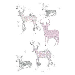 Dana Haim, LLC - Oh Deer Wallpaper, Lilac - Digitally printed wall coverings inspired by multifaceted crystals and magic. Designed in Brooklyn and printed in California. No VOC's. Sold per square foot. Please allow 2-4 weeks.
