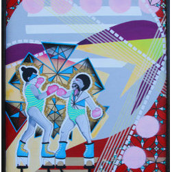 """""""Boxing Match"""" (Original) By Kellie Langewisch - This Painting Is A Colorfully Designed World Made Up Of Layered Shapes And Patterns. The Strange Boxing Match Is Occurring Between Two Boys, One With A Competitive Face Emerging. This Match Is Existing In It'S Own Specifically Constructed World With No Laws. This Piece Is Painted On Wood, With A Bordering, Built-In, Wooden Frame."""