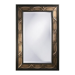 Howard Elliott - Charles Rectangular Bronze w/ Rust & Pewter Mirror - This large oversized rectangular mirror features an interlaced scallop pattern finished in a bronze accented with pewter highlights and bordered in a black trim.