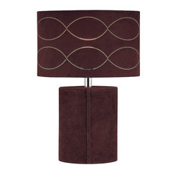 Lite Source - Table Lamp - Dark Brown Genuine Leather/Suede Fabric - Table Lamp - Dark Brown Genuine Leather/Suede Fabric