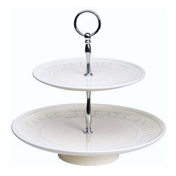 Cream Footed  2 Tier Cake Stand