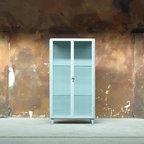 European vintage industrial furniture - Large medical glass & steel cabinet