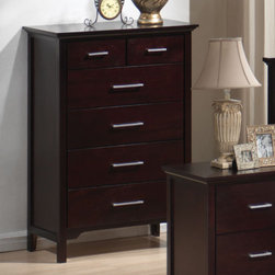 """Coaster - Kendra Chest - This collection is sure to add a fresh and modern and clean style to any bedroom. The bed has a plush micro fiber headboard that makes for a rich contrast against the beautiful mahogany finish.; Transitional Style; Kendra Collection; Mahogany finish; English dovetail construction; Metal glides; No assembly required.; Dimensions: 32.75""""L x 17.75""""W x 47.25""""H"""