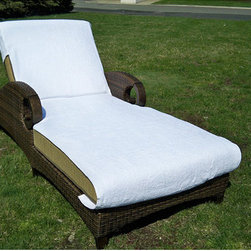 None - Authentic Turkish Cotton Towel Cover for Standard Size Chaise Lounge Chair - With their ultra-soft and absorbent material,these cotton chaise lounge covers may cause you to linger just a little bit longer by the pool. The custom fit will stay in place as you move around,and the delicate white embroidery adds a charming touch.