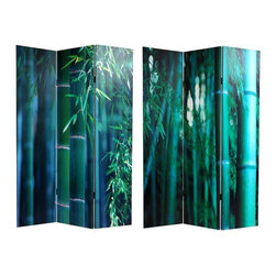 Oriental Unlimted - 6 ft. Tall Double Sided Bamboo Tree Canvas Ro - Saturated color highlights the stunning close up bamboo tree photographs featured on this double sided room divider, perfect for modern loft spaces or to add color and architectural interest to any decor. The reversible divider has a wood frame and is covered with canvas. One double-sided divider, both sides shown in image. An extraordinary pair of photographs, close cropped, magnified sections of rich color saturation images of close ups of mature bamboo stalks awash in daylight. In bold, amazing greens, warm, attractive images, printed onto a limited number of portable, durable, 3 panel canvas room dividers. Printed with high saturation ink to create a beautiful, long lasting image. Great for dividing space, providing privacy, hiding unsightly areas or equipment, background for plants or sculptures or defining a cozy space. Almost entirely opaque, very little light can pass through the double layer of canvas. Natural, inviting, colorful accent for modern, eclectic interior design and decor. One of a kind decorative art, as well as practical, effective, folding floor screens. Offering complete privacy, very tough and durable, yet light and portable. Carefully constructed reinforced wood frames of hardy, kiln dried Spruce, covered top to bottom, front and back, and on the edges, with stretched poly-cotton blend canvas. Provides about 3.5 ft. of width when displayed as shown above. 15.75 in. W x 70.88 in. H (each panel)