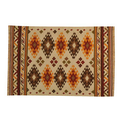 Anatolian Kilim 4'x6' Reversible Flat Weave Hand Woven 100% Wool Rug SH15665 - Soumaks & Kilims are prominent Flat Woven Rugs.  Flat Woven Rugs are made by weaving wool onto a foundation of cotton warps on the loom.  The unique trait about these thin rugs is that they're reversible.  Pillows and Blankets can be made from Soumas & Kilims.