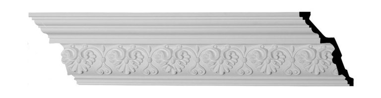 """Ekena Millwork - 6""""H x 4 1/8""""P x 7 1/4""""F x 94 1/2""""L Large Elegant Hampshire Crown Moulding - 6""""H x 4 1/8""""P x 7 1/4""""F x 94 1/2""""L Large Elegant Hampshire Crown Moulding. Our beautiful panel moulding and corners add a decorative, historic feel to walls, ceilings and furniture pieces- They are made from a high-density urethane which gives each piece the unique details that mimic that of traditional plasting and wood designs but at a fraction of the weight- This means a simple and easy installation for you- The best part is that you can make your own shapes and sizes by simply cutting the moulding pieces down to size and then butting them up to the decorative corners- These are also commonly used for an inexpensive wainscot look-Features- Modeled after original historical patterns and designs-- Constructed from solid urethane for maximum durability and detail-- Lightweight for quick and easy installation-- Factory-primed and ready for paint or faux finish-- Can be cut, drilled, glued and screwed-- Designed for use on both interior and exterior applications-- Material- Urethane"""