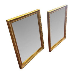 Pre-owned Gilt Framed Beveled Mirrors - A Pair - A gorgeous matching pair of framed beveled mirrors! They are perfect for above a double vanity or on either side of a bed or china cabinet.