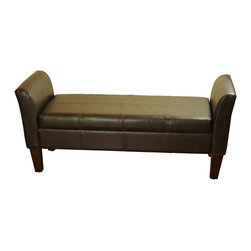 Kinfine - Espresso Leather Storage Bench with Arms - Update your home decor with this lovely rich espresso storage bench.Perfect for a bedroom or living area, this multi-functional bench is ideal for extra seating.The double stitching design gives a soft feeling that will complete your room.