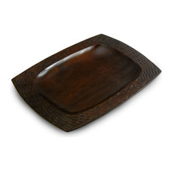 Enrico - Enrico Mango Wood Serving Platter, Chocolate - Each item in the Mango Honeycomb Deep Blue grouping features an enigmatic and tactile honeycomb texture carved into the outer surface and a smooth interior. These products are all hand-carved and finished, so each piece reflects the variations natural to handmade items. All items are finished in a food-safe lacquer. We recommend hand washing and drying for all items.