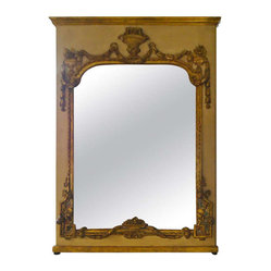 Magnificent Large French Antique Trumeau Mirror - Very large and elegant trumeau mirror in cream painted wood and gilded embellishments. Aged mirror in two panels.