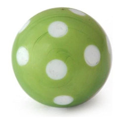 "Knobco - Polka Dotted Glass Knob, Green Knob with White Polka Dots - Green Knob with White Polka Dots glass knob. Unique glass knobs for your kitchen cabinets. 1"" in   diameter. Includes screws for installation."