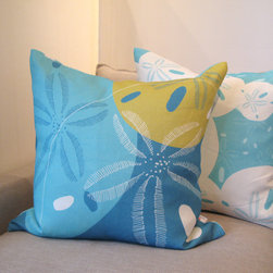 Kaypee Soh - Sand Dollar Pillow - Aqua - Reminiscent of shoreline beach scouring and child-like treasure hunting, sand dollars are the ultimate beach bling. 100% Linen Hidden red zipper closure Feather/down hypoallergenic insert Hand made in USA