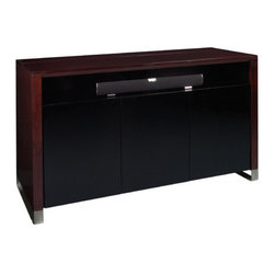 "TVLIFTCABINET, Inc - Ocean Avenue 66"" TV Lift Cabinet - This TV Lift Cabinet sports an ultra-sleek look that is must have for any modern home. Stylish and sophisticated is what comes to mind when you first see the Ocean Avenue TV Lift Cabinet, with amazement over the tech-savvy features not far behind.As with all of the great TV Lift Cabinets, this unique built-in infrared relay system allows complete control of your television and audio-visual equipment. The system enables you to operate your remote controlled audio-visual equipment from behind closed doors. No need to have the equipment visible! If you're looking for a modern TV Lift Cabinet that is at the top of its class in terms of style and functionality, then the Ocean Avenue TV Lift Cabinet is for you. Features: -Espresso finish. -Zebra wood construction. -Brushed aluminum legs. -Includes 3 power outlets for your TV and 2 pieces of audiovisual equipment (for example a DVD and a cable box). -Large opened compartment affords space for a sound bar or to showcase your decor. -3 Smoked glass doors. -3 Adjustable 0.38"" smoked glass shelves. -Max TV size: 32.75"" H x 63"" W x 5"" D ."