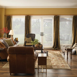 Sheer Shade | Traditional Living Room| Yellow & White | Rustic Fireplace - Sheer shades are perfect for french doors.