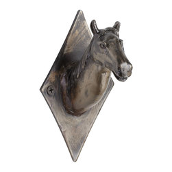 Cyan Design - Cyan Design Horse Head Calm Coat Hook - Equestrian AccentsCreate a hint of Western ruggedness, with the textured detail of mane and snout of this horse headed coat hook. It's finished with a raw steel varnish for an Old World luster, which compliments its country theme comfortably. Install it on a board with the other Horse Head hooks for a ranch-inspired coat rack. The Horse Head Calm coat hook looks great alone too, with the steady gaze and majestically natural feel of its subject.Crafted from ironFinished in a raw steel toneMounting hardware includedMatches the other Horse Head Coat Hooks