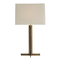 """Arteriors - Mildred Lamp - A simple, straightforward, classic iron table lamp finished in antique brass and topped with an ivory rectangular microfiber shade lined in matching cotton.  Great desk lamp or consider a pair flanking a bed or settee.  Lamp body: 10 1/2"""" w x 10 1/2"""" d x 15"""" h  Socket Wattage: 150  Switch Color: Black  Switch Location: At Socket  Switch Type: 3-Way Rotary  Cord Color: Clear/Silver  Microfiber shade: 15"""" w x 12"""" d x 10 1/2"""" h"""