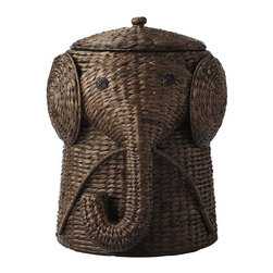 Inova Team - Modern Hamper, Brown, Large - Your child will find keeping the bedroom floor clear of clothes a lot more fun with our Animal Hamper. This wicker laundry basket is expertly handcrafted into the shape of a friendly elephant with a curling trunk. Lift the elephant's hat to discover plenty of space for dirty laundry.
