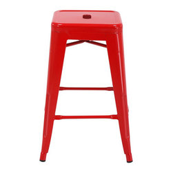 "Office Star - Office Star Patterson 24"" Steel Backless Barstool in Red (Set of 2)-Set of 4 - Office Star - Bar Stools - PTR3024A49 - Simple elegant chair featuring powder coated steel frame and clean modern design. Always ready to serve you with style these chairs are designed to add elegance to your life. Backless design is easy to store while metal frame is easy to maintain and clean. Elegant design with a modern touch these gorgeous Patterson Metal Chairs come fully assembled for your convenience."