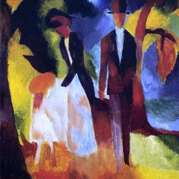 "August Macke People by the Lake - 16"" x 20"" Premium Archival Print - 16"" x 20"" August Macke People by the Lake premium archival print reproduced to meet museum quality standards. Our museum quality archival prints are produced using high-precision print technology for a more accurate reproduction printed on high quality, heavyweight matte presentation paper with fade-resistant, archival inks. Our progressive business model allows us to offer works of art to you at the best wholesale pricing, significantly less than art gallery prices, affordable to all. This line of artwork is produced with extra white border space (if you choose to have it framed, for your framer to work with to frame properly or utilize a larger mat and/or frame).  We present a comprehensive collection of exceptional art reproductions byAugust Macke."