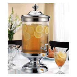 "Godinger Silver - Rocks Borough Beverage Dispenser - This impressive glass and chrome drink dispenser beautifully presents any cold beverage. Easy to use and easy to store, you can simply take them apart for convenient storage. This piece will surely add definition wherever you display it and will enhance any gathering. Its durable plastic spout, coated in stainless will dispense your liquid in a jiff. * 2.5 Gallons * Chrome plated, tarnish resistant base * 22"" from base to tip of finial"