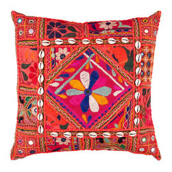 Surya Rugs - 18-Inch Square Red Multi-Color Bohemian Cotton Pillow Cover with Down Insert - - 18 x 18 100% Cotton Pillow Cover w/ Down Insert.   - For more than 35 years Surya has been synonymous with high quality innovation and luxury.   - Our designers have masterfully created some of the most cutting edge and versatile pieces to bring out the best in every room.   - Encompassing their expert understanding of the latest trends in fashion and interior design each product is a perfect combination of color pattern and texture to accommodate the widest range of tastes.   - With Surya the best in design and quality is at your fingertips.   - Pantone: Dark Olive Green Blue Corn Blackberry Deep Rose Magenta Red Rust Red Paprika Burnt Orange Orange Peel Sienna Desert Sand Coal Black Army Green Parchment.   - Made in India.   - Care Instructions: Spot Clean.   - Cover Material: 100% Cotton.   - Fill Material: Down. Surya Rugs - AR070-1818D