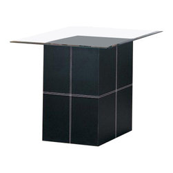 Coaster - Coaster Williams Contemporary End Table With Bonded Leather Base and Glass Top - Coaster - End Tables - 3896 - This bold contemporary end table will add a sophisticated flair to your living room. The table features a square pedestal base covered in rich black bonded leather with white accent stitching. The sleek square beveled glass top sits above for a regal but modern look. Add your own lamp and favorite decorative items to this table and place next to a chair or sofa for a complete living room ensemble. The Williams collection will help you create a bold one-of-a-kind style in your contemporary living room. These stunning occasional tables have daring bases covered in luxurious black bonded leather and accented with white stitching. The structural look of the bases are balanced with sleek and sophisticated beveled glass tops for a bright modern look that you will love. Add these pieces to your home for an instant update to your contemporary living room ensemble.