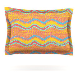 """Kess InHouse - Nandita Singh """"Pink Waves"""" Orange Yellow Pillow Sham (Cotton, 30"""" x 20"""") - Pairing your already chic duvet cover with playful pillow shams is the perfect way to tie your bedroom together. There are endless possibilities to feed your artistic palette with these imaginative pillow shams. It will looks so elegant you won't want ruin the masterpiece you have created when you go to bed. Not only are these pillow shams nice to look at they are also made from a high quality cotton blend. They are so soft that they will elevate your sleep up to level that is beyond Cloud 9. We always print our goods with the highest quality printing process in order to maintain the integrity of the art that you are adeptly displaying. This means that you won't have to worry about your art fading or your sham loosing it's freshness."""
