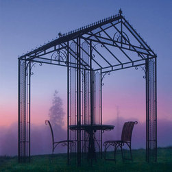 Sunrise Gazebo - Strikingly attractive, the Sunrise gazebos sturdy elegance and delicate details add a classic charm to any outdoor setting. Fitted with ground spikes to insure stability and security, this stylish gazebo will become the envy of every vine climber in the neighborhood. A wonderful way to enhance your homes exterior, this delightful backyard destination is the perfect place to get away from it all.