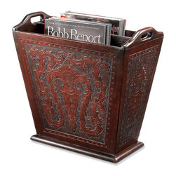 Frontgate - Colonial Leather Magazine Tote - Leather surface is elaborately hand-chiseled with carved motifs. Frames are solid wood. Rich brown finish. Handcrafted in Peru. The beautifully finessed Colonial Leather Magazine Tote instantly transforms an ordinary desk into a distinguished workspace. An elegant way to serve or store, each item is specifically designed to help you organize and prioritize.  . . . .