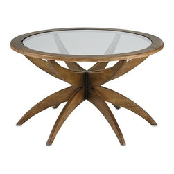 Currey & Co - Ellen Coffee Table, Small - This small scale version of the Ellen Coffee Table calls on mid-century modern design for inspiration. A simple glass top is fitted above the unfurling wooden legs. A lovely Weathered Walnut finish makes this style a charming neutral accent.