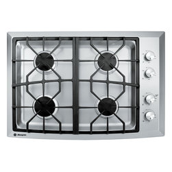 "GE Monogram - GE Monogram® 30"" Stainless Steel Gas Cooktop (Natural Gas) - Monogram gas cooktops have gracefully designed grates that interlock for stability and master the art of precision with complete simmer-to-boil flexibility on all dual-flame, stacked burners."