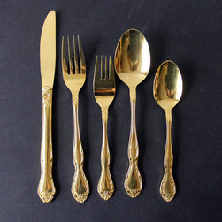 Stainless Gold Flatware Set by Gallivanting Girls - Gold flatware would really add some flair to holiday dinners.