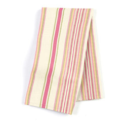 Pink & Green Stripe Custom Napkin Set - Our Custom Napkins are sure to round out the perfect table setting'whether you're looking to liven up the kitchen or wow your next dinner party. We love it in this breezy linen stripe of purple, gray & ivory feels soft, serene and sophisticated.