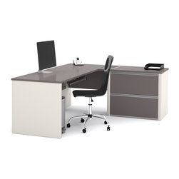 Bestar - Bestar Connexion Slate & Sandstone 71 x 83 L-Shaped Workstation Desk - The desk is made of durable 1 inch commercial grade work surface with melamine finish that resist scratches stains and wears. It features an impact resistant 0.25 cm PVC edge. Grommets are available on the station for efficient wire management. The credenza and the return table meet or exceed ANSI/BIFMA performance standards. The oversized pedestal offers two file drawers with letter/legal filing system. The drawers are on ball-bearing slides and the keyboard drawer features double-extension slides for a smooth and quiet operation. The station is fully reversible. Also available in Bordeaux and Slate finish. Connexion is a contemporary and durable collection that features a wide variety of configuration options that will adapt to your specific needs.Nowadays performance productivity and quality of life are fundamental to achieving our personal and professional goals. Bestar's home and office furniture design is based upon these criteria as well as on today's reality. On average we spend about 40 hours a week at work (home or office) which represents a large portion of our time. Various factors have a direct impact on our well-being at work: an important concern in the current employment environment continually changing and at an ever-increasing pace. Therefore organizing your space is certainly a parameter to consider. Features include Strong and large work surface Plenty of room to organize your documents Multiple configuration options. Specifications Finish/color: Slate & Sandstone.