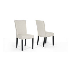 Wholesale Interiors - Harrowgate Beige Linen Modern Dining Chairs, Set of 2 - No frills, no fuss, but plenty of fashion! The simplistic Harrowgate Dining Chairs have the straight line-inspired design of popular modern style but a comforting beige linen upholstery and traditional silver nail head trim along most outer edges. The chairs are made with birch wood frames and foam cushioning (CA117 flame retardant). Completing your new dining room furniture set are black lacquer legs with non-marking feet. Made in China, the modern chairs are fully assembled and should be spot cleaned.
